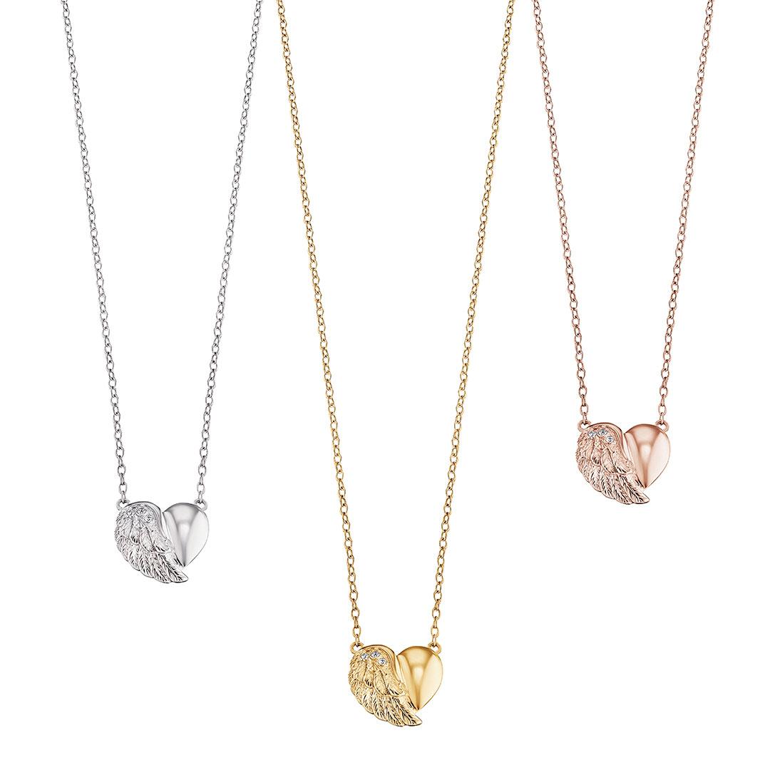 Engelsrufer - Ketten Herz-Flügel in Silber, Gold, Rose