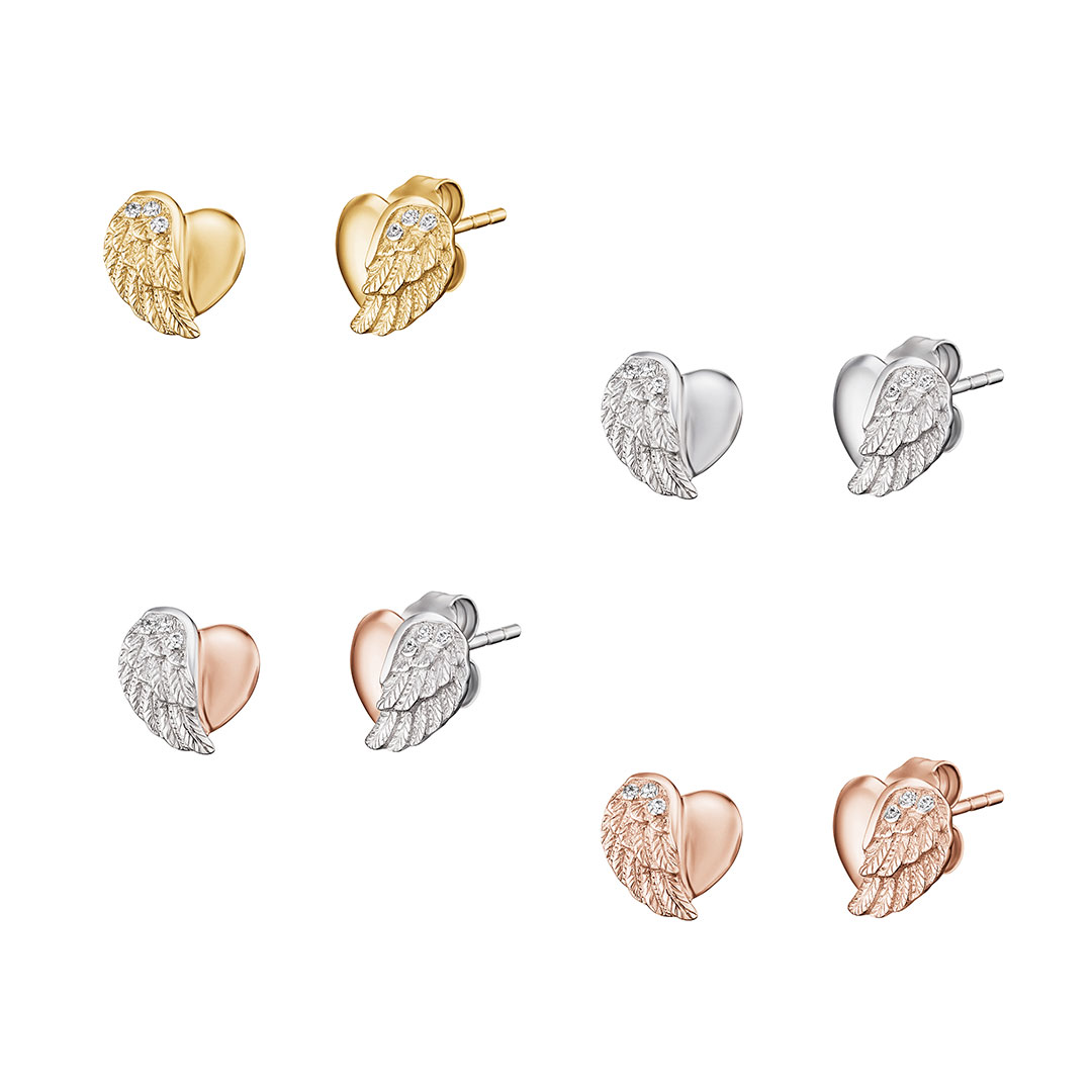 Engelsrufer - Ohrringe Herz-Flügel in Silber, Gold, Rose