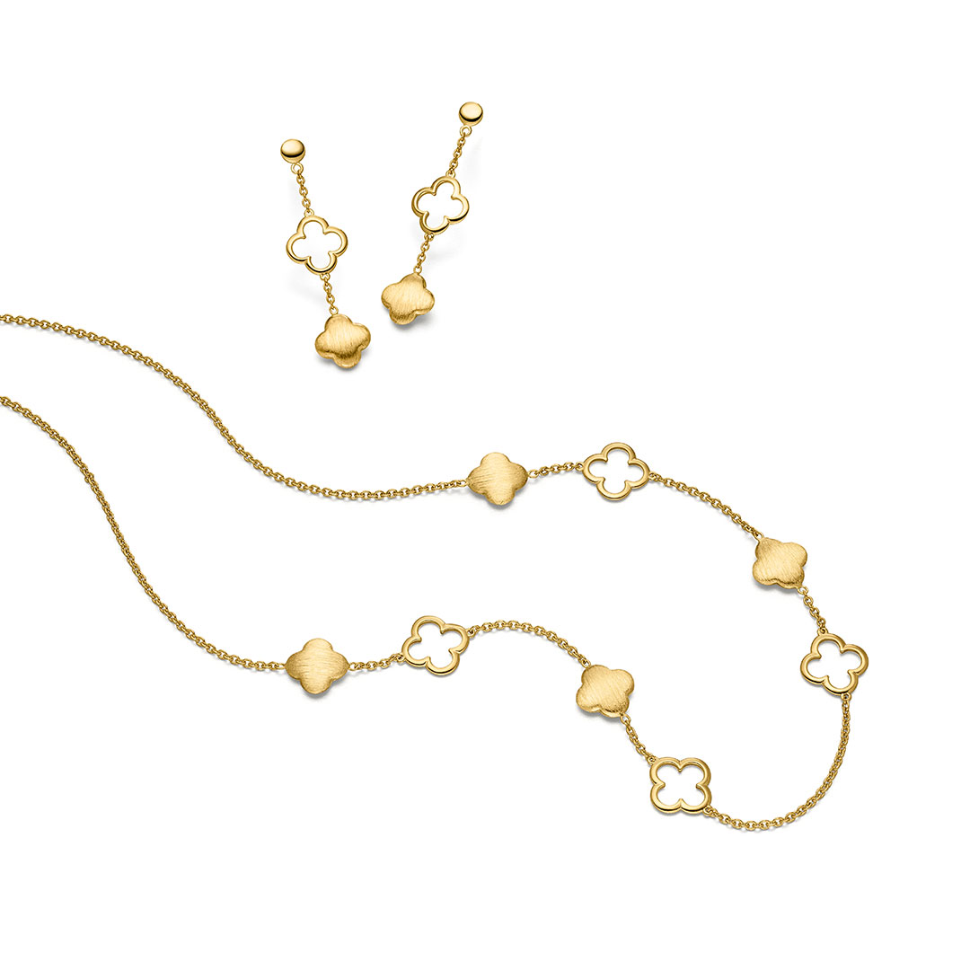 Elaine Firenze - Kette, Ohrringe in Gold-Blumig