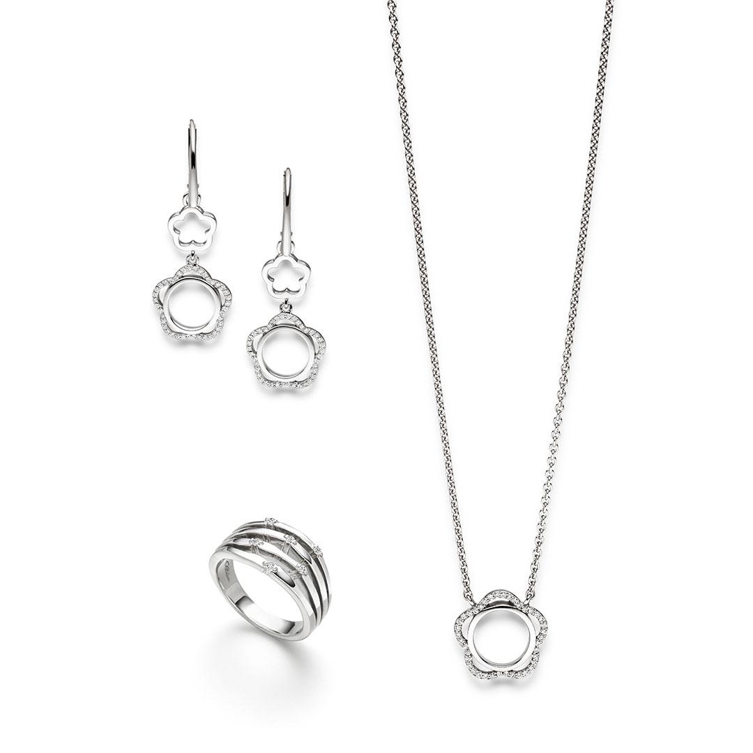 Elaine Firenze - Kette, Ring, Ohrringe - Silber-Blumig