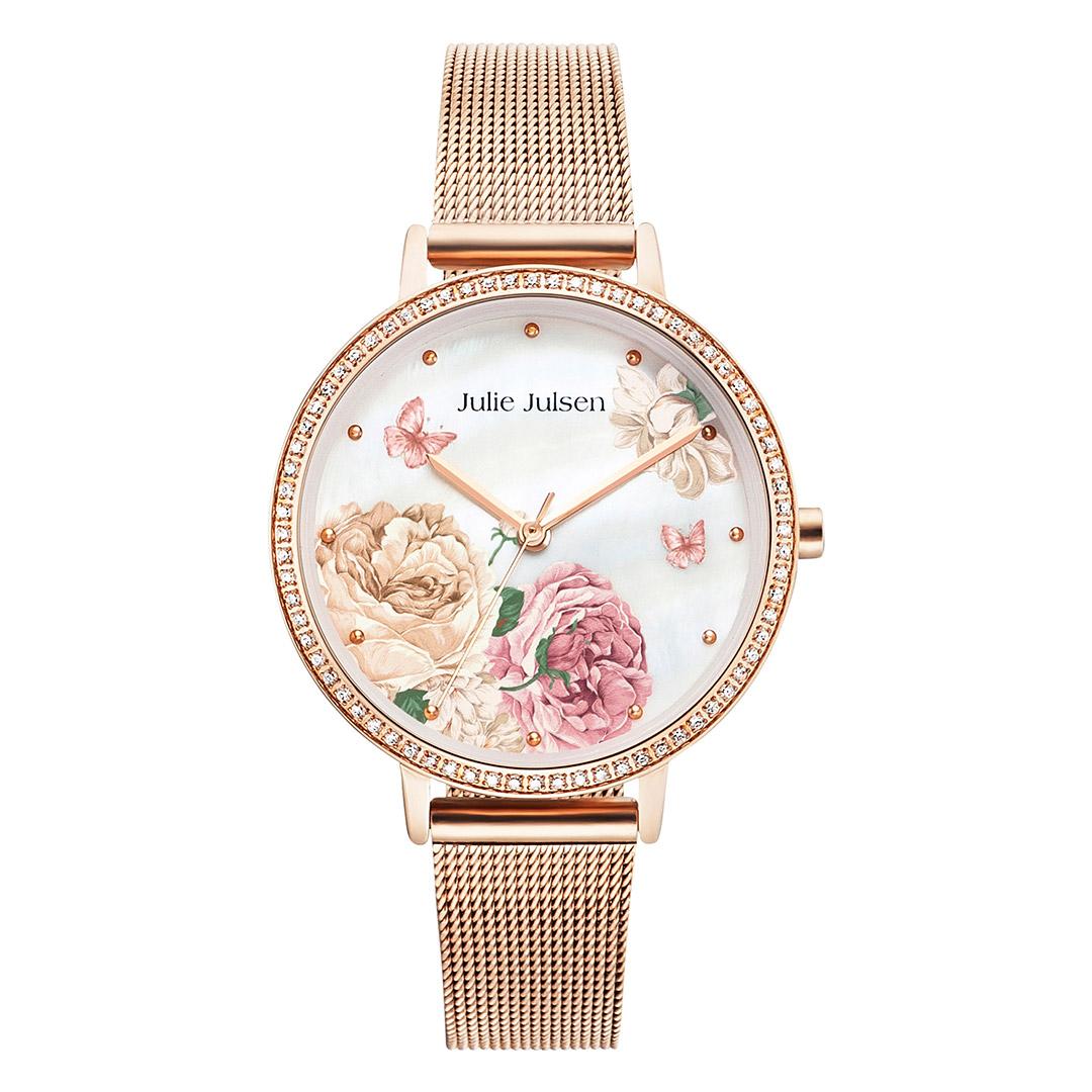 Julie Julsen Damen-Uhr Secret Garden Meshband rose