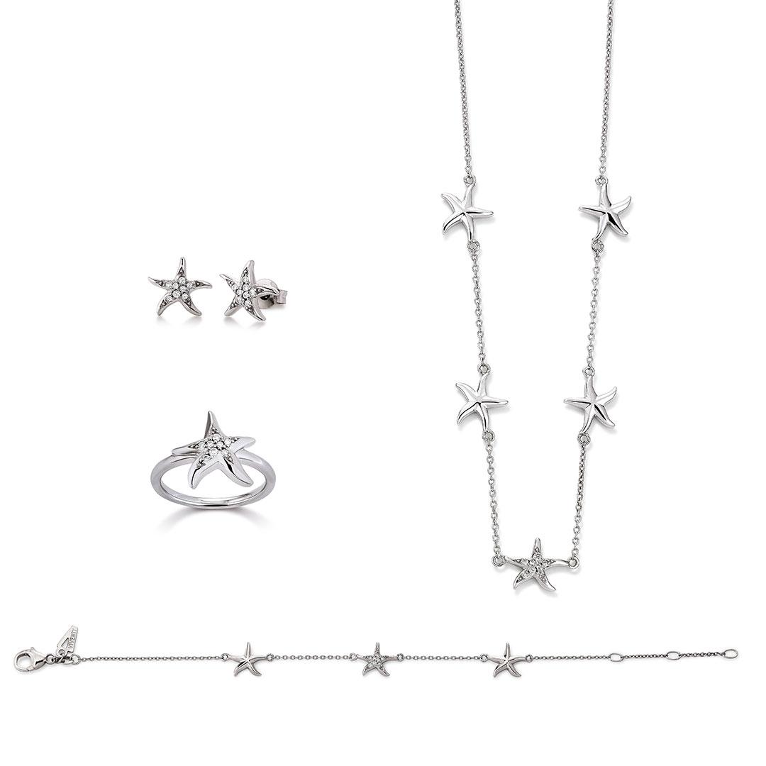 Vivenity - Kette, Ohringe, Armband, Ring - Ocean-Love-Seesterne silber