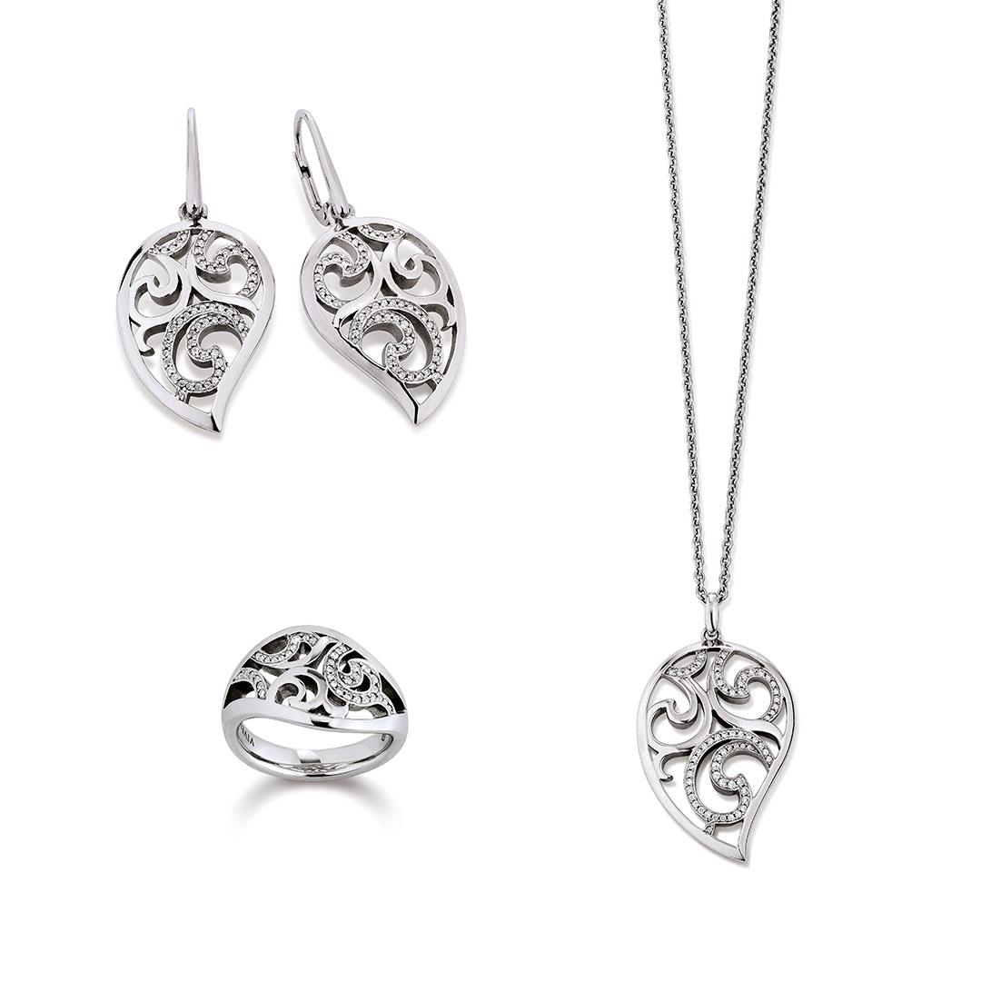 Vivenity - Kette, Ohrringe, Ring Blatt silber