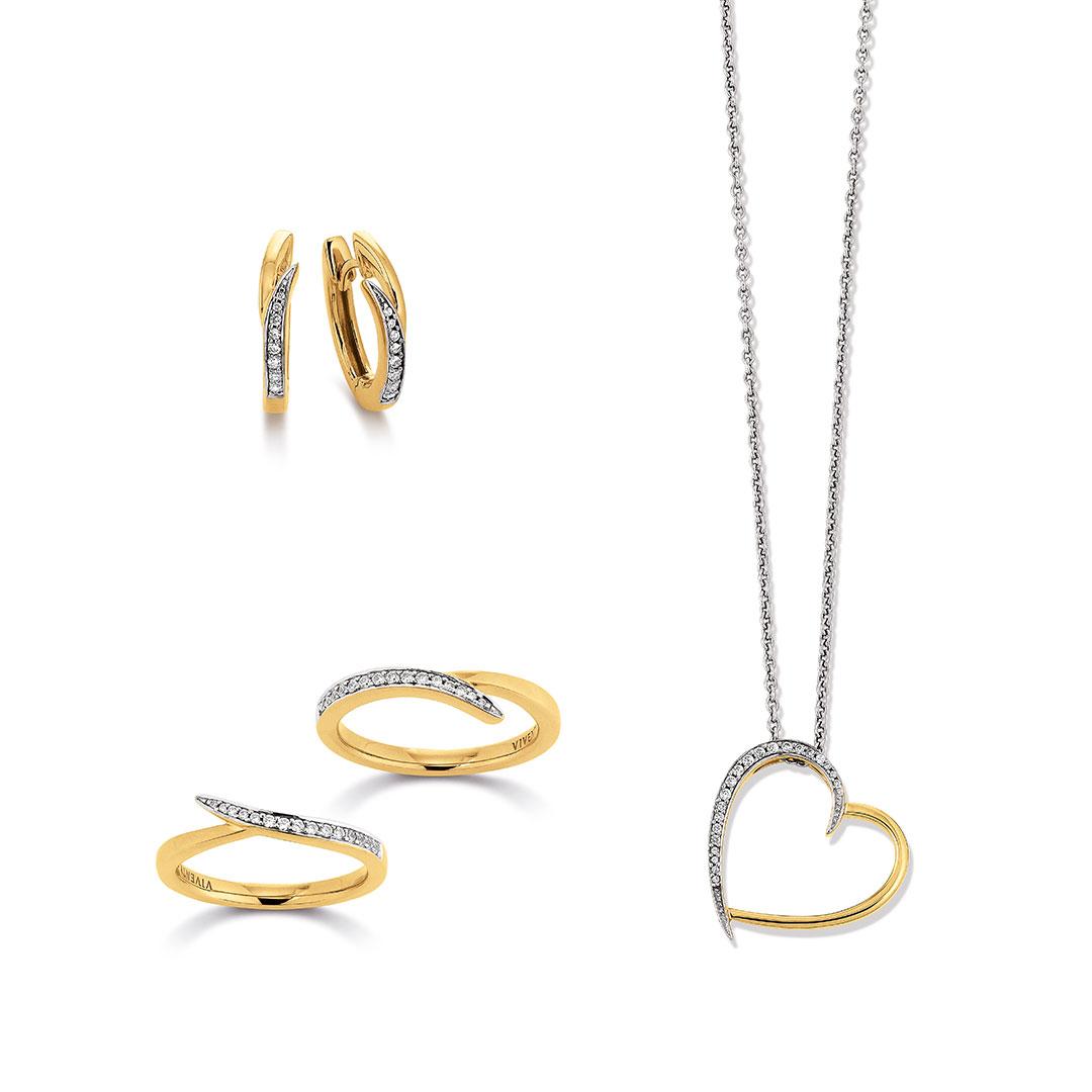 Vivenity - Kette, Ohrringe, Ring Gold-Herz