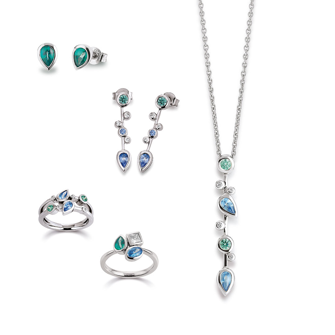 Vivenity - Kette, Ohrringe, Ringe, Silber-Blau-Grün-Tropfen