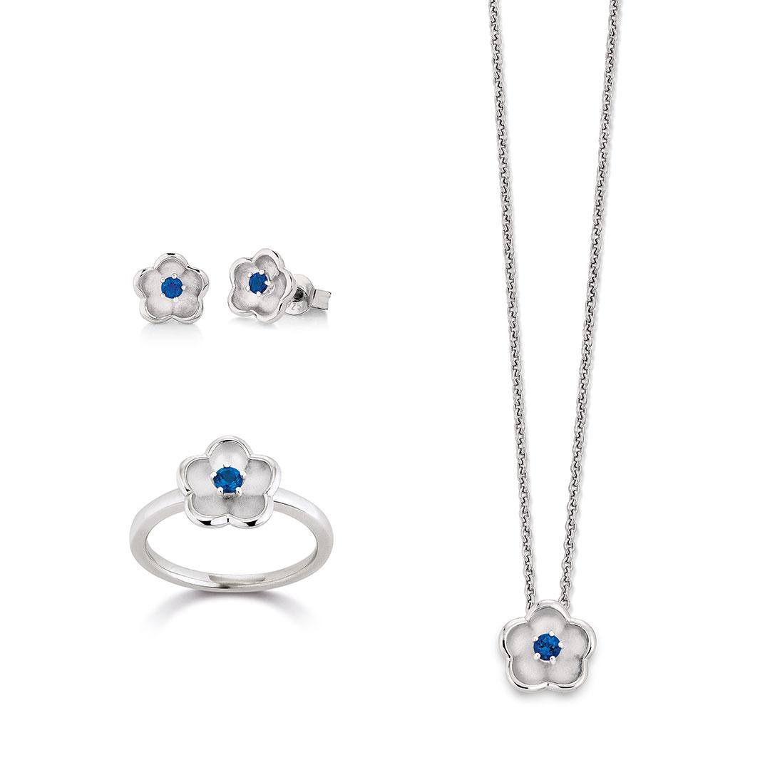 Vivenity - Kette, Ohrringe, Ring Silber-Blumen