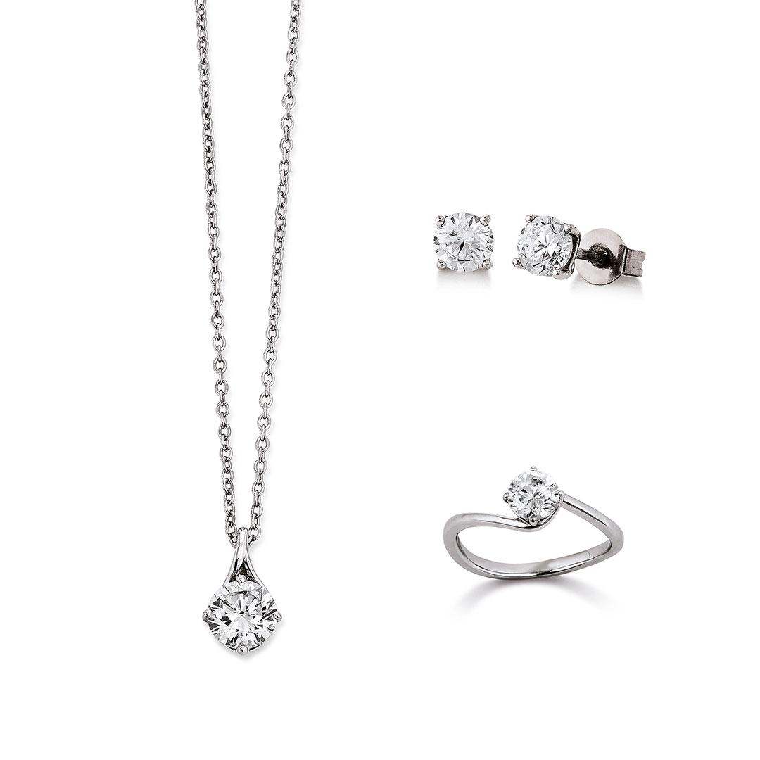 Vivenity - Kette, Ohrringe, Ring Silber-Diamant