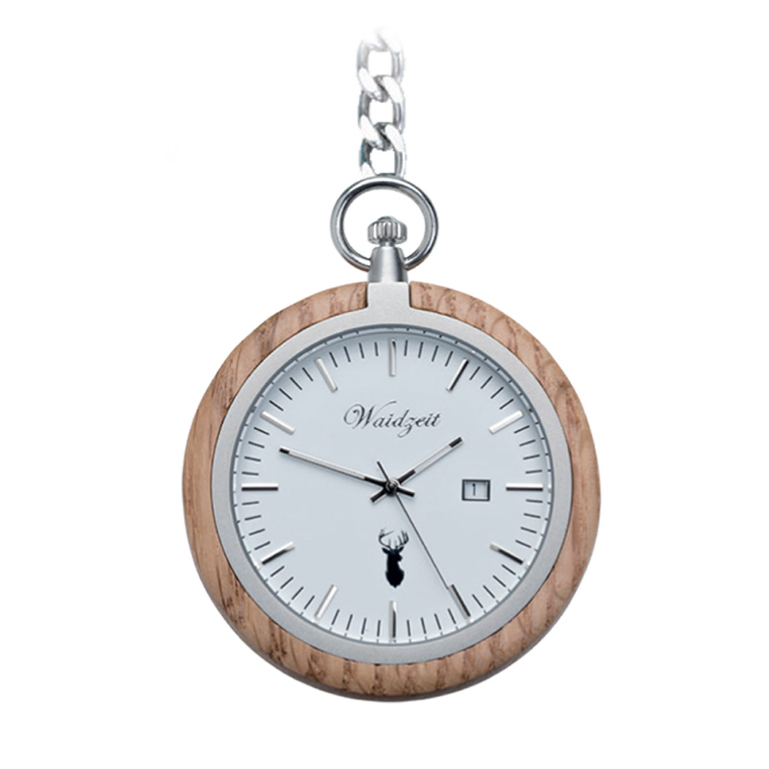 Waidzeit-Taschenuhr-Holz